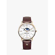 Buy Maurice Lacroix EL1108-PVP01-112-1 Men's Eliros Moon Phase Date Leather Strap Watch, Brown/White Online at johnlewis.com
