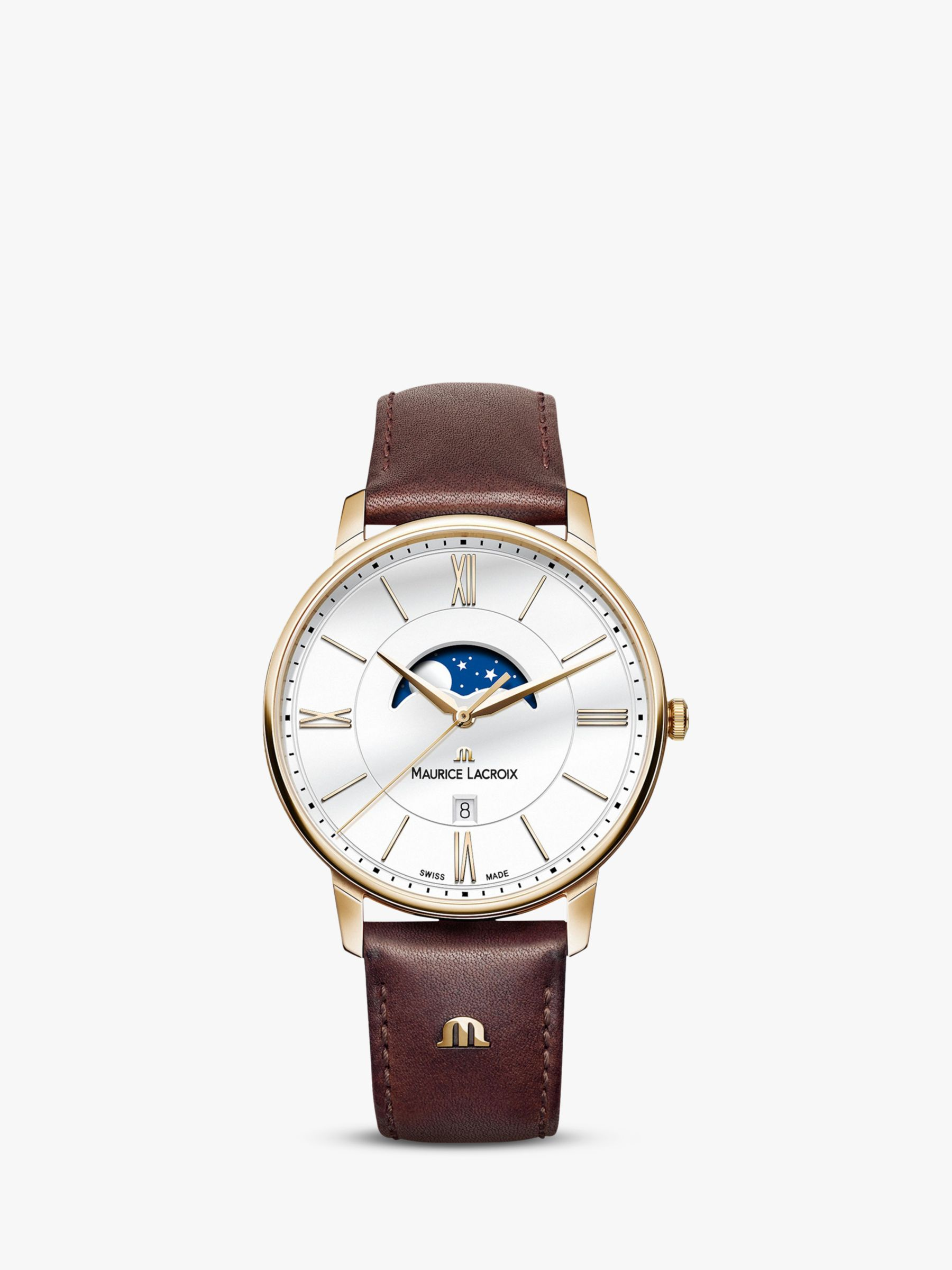 Maurice Lacroix Maurice Lacroix EL1108-PVP01-112-1 Men's Eliros Moon Phase Date Leather Strap Watch, Brown/White