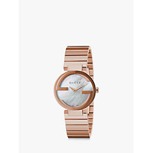Buy Gucci YA133515 Women's Interlocking-G Bracelet Strap Watch, Rose Gold/Mother of Pearl Online at johnlewis.com
