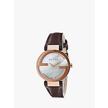 Buy Gucci YA133516 Women's Interlocking G Leather Strap Watch, Brown/Mother of Pearl Online at johnlewis.com