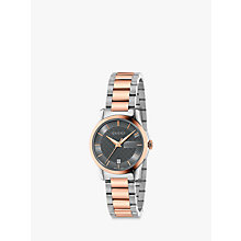 Buy Gucci YA126527 Women's G-Timeless Date Two Tone Bracelet Strap Watch, Rose Gold/Silver Online at johnlewis.com