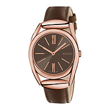Buy Gucci YA140408 Women's Horsebit Leather Strap Watch, Brown Online at johnlewis.com