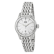 Buy Oris 01 561 7687 4051-07 8 14 77 Women's Queen of Diamonds Date Bracelet Strap Watch, Silver Online at johnlewis.com