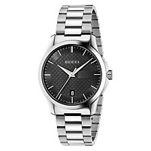 Buy Gucci YA126457 Men's G-Timeless Date Bracelet Strap Watch, Silver/Black Online at johnlewis.com