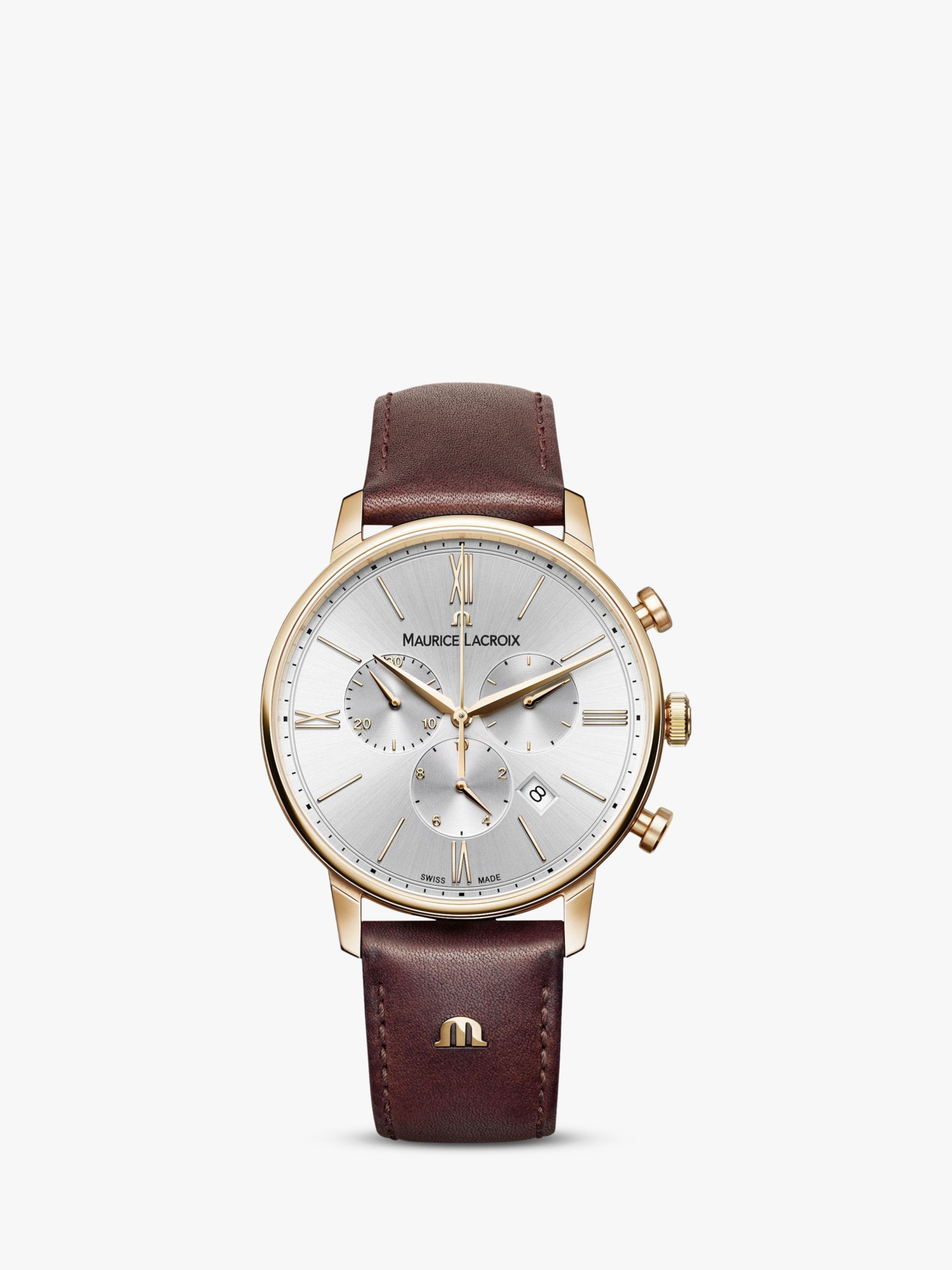 Maurice Lacroix Maurice Lacroix EL1098-PVP01-111-1 Men's Eliros Chronograph Date Leather Strap Watch, Brown/Silver