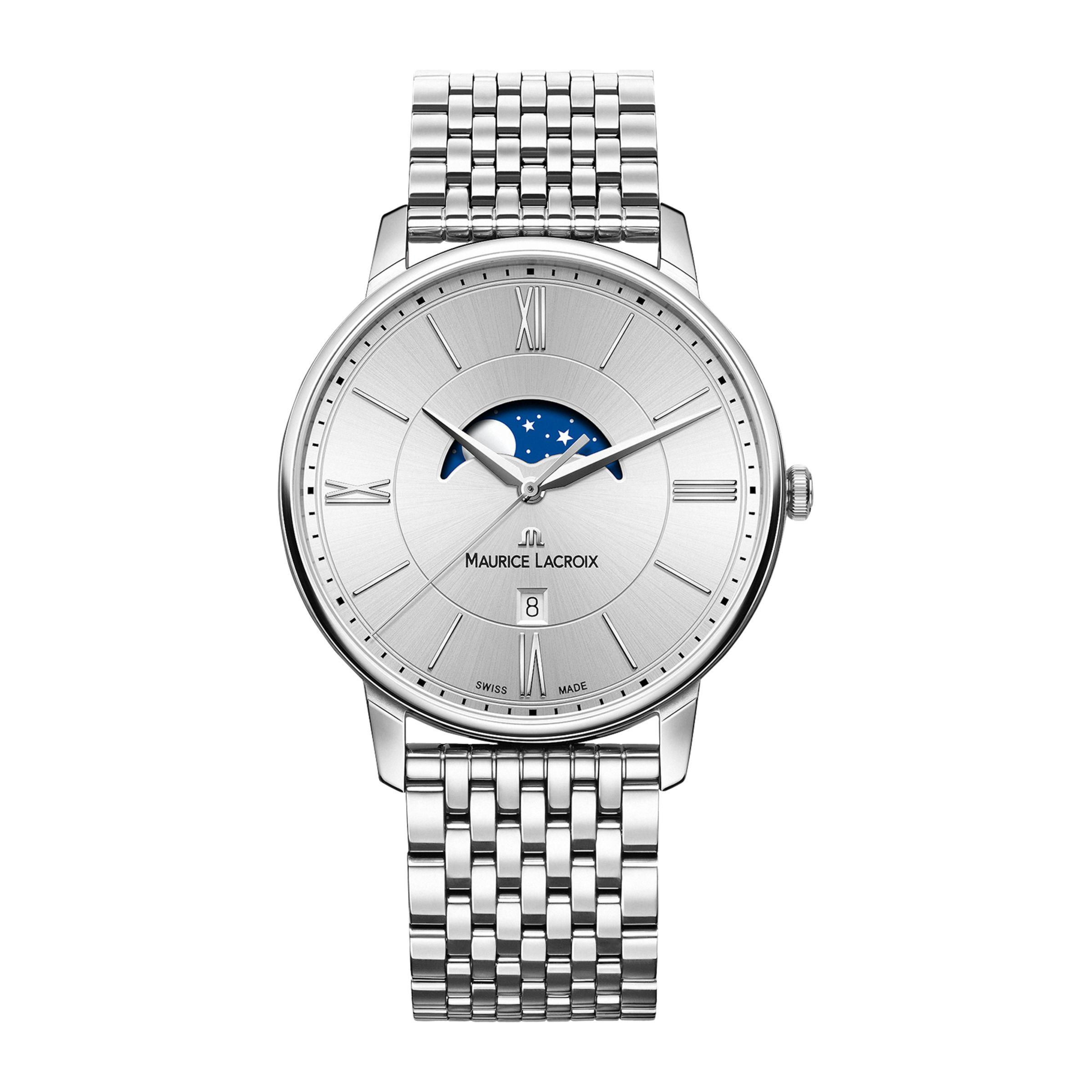 Maurice Lacroix Maurice Lacroix EL1108-SS002-110-1 Men's Eliros Date Moonphase Bracelet Strap Watch, Silver