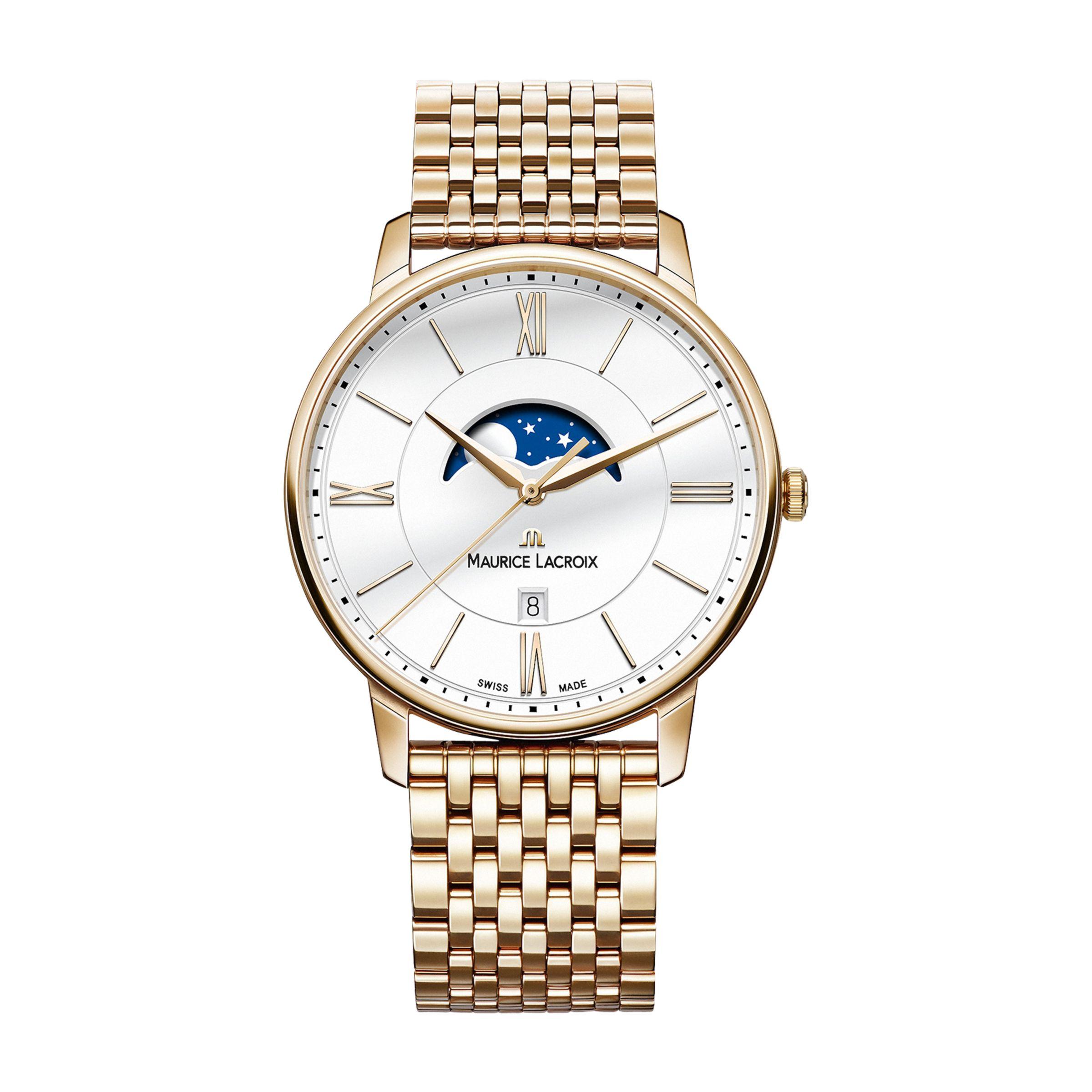 Maurice Lacroix Maurice Lacroix EL1108-PVP06-112-1 Men's Eliros Date Moonphase Bracelet Strap Watch, Rose Gold/Silver