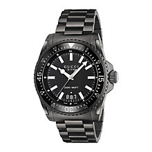 Buy Gucci YA136205 Men's Dive Date Bracelet Strap Watch, Black Online at johnlewis.com