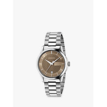 Buy Gucci YA126445 Men's G-Timeless Date Bracelet Strap Watch, Silver/Brown Online at johnlewis.com