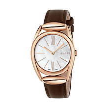 Buy Gucci YA140507 Women's Horsebit Leather Strap Watch, Brown/Mother of Pearl Online at johnlewis.com