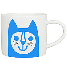 Buy Jane Foster Blue Cat Mug, White / Blue Online at johnlewis.com