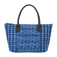 Buy East Block Print Tote Bag, Indigo Online at johnlewis.com