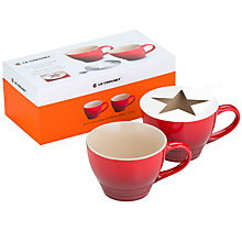 Buy Le Creuset Grand Mug and Stencil, Set of 2, Cerise Online at johnlewis.com
