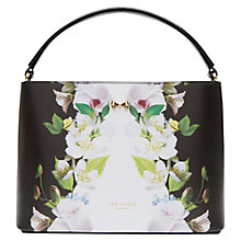 Buy Ted Baker Baila Forget Me Not Leather Tote Bag, Black Online at johnlewis.com