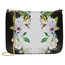 Buy Ted Baker Livi Forget Me Not Leather Across Body Bag, Black Online at johnlewis.com