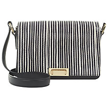 Buy Jaeger Leather Stripe Push Lock Across Body Bag, Black / White Online at johnlewis.com