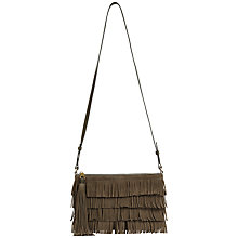 Buy Jaeger Leather Suede Fringe Across Body Bag, Grey Online at johnlewis.com