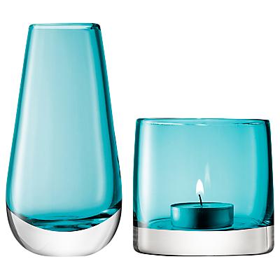 LSA International Bud Vase and Tealight Holder, Peacock