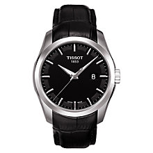 Buy Tissot T0354101605100 Men's Couturier Date Leather Strap Watch, Black Online at johnlewis.com