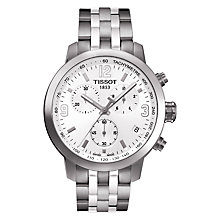 Buy Tissot T0554171101700 Men's PRC 200 Chronograph Date Bracelet Strap Watch, Silver/White Online at johnlewis.com
