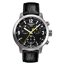 Buy Tissot T0554171605700 Men's PRC 200 Chronograph Date Leather Strap Watch, Black Online at johnlewis.com