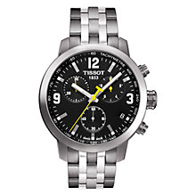Buy Tissot T0554171105700 Men's PRC 200 Chronograph Date Bracelet Strap Watch, Silver/Black Online at johnlewis.com
