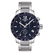 Buy Tissot T0954171104700 Men's Quickster Chronograph Date Bracelet Strap Watch, Silver/Navy Online at johnlewis.com