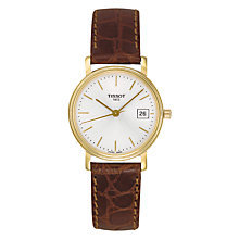 Buy Tissot T52511131 Women's Desire Date Leather Strap Watch, Tan/White Online at johnlewis.com