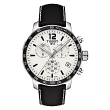 Buy Tissot T0954171603700 Men's Quickster Chronograph Date Leather Strap Watch, Black/White Online at johnlewis.com