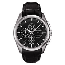 Buy Tissot T0356271605100 Men's Couturier Chronograph Date Leather Strap Watch, Black Online at johnlewis.com