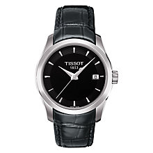 Buy Tissot T0352101605100 Women's Couturier Date Leather Strap Watch, Black Online at johnlewis.com