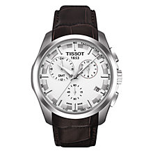 Buy Tissot T0354391603100 Men's Couturier Chronograph GMT Date Leather Strap Watch, Brown/White Online at johnlewis.com