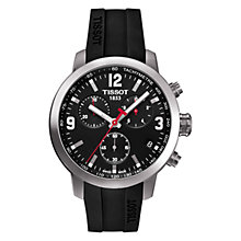 Buy Tissot T0554171705700 Men's PRC 200 Chronograph Date Rubber Strap Watch, Black Online at johnlewis.com