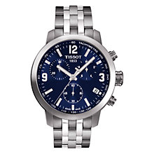 Buy Tissot T0554171104700 Men's PRC 200 Chronograph Date Bracelet Strap Watch, Silver/Navy Online at johnlewis.com