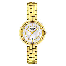 Buy Tissot T0942103311100 Women's Flamingo Date Bracelet Strap Watch, Gold/Mother of Pearl Online at johnlewis.com