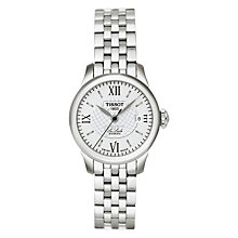 Buy Tissot T41118333 Women's Le Locle Date Bracelet Strap Watch, Silver/White Online at johnlewis.com