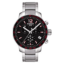 Buy Tissot T0954171105700 Men's Quickster Chronograph Date Bracelet Strap Watch, Silver/Black Online at johnlewis.com