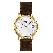 Buy Tissot T52541131 Men's Desire Date Leather Strap Watch, Dark Brown/White Online at johnlewis.com
