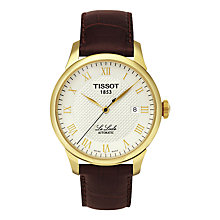 Buy Tissot T41541373 Men's Le Locle Date Leather Strap Watch, Brown/Silver Online at johnlewis.com
