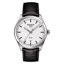 Buy Tissot T1014101603100 Men's PR 100 Date Leather Strap Watch, Black/White Online at johnlewis.com
