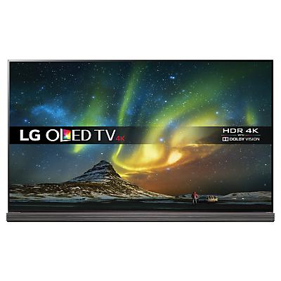 "LG OLED65G6V Signature OLED HDR 4K Ultra HD 3D Smart TV, 65"" with Freeview HD/Freesat HD, Harman / Kardon Soundbar Stand, Picture-On-Glass Design & 2 x 3D Glasses, UHD Premium"