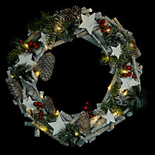 Buy John Lewis Cone, Star & Berry Wreath, Natural Online at johnlewis.com
