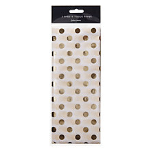 Buy John Lewis Ostravia Spot Tissue Paper, Pack of 3, Gold Online at johnlewis.com