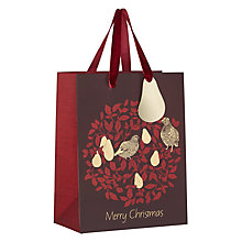 Buy John Lewis Ruskin House Partridge Gift Bag, Small, Red Online at johnlewis.com