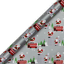 Buy John Lewis Grand Tour Santa Gift Wrap, 3m, Silver Online at johnlewis.com