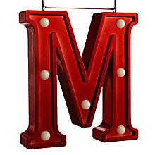 Buy John Lewis Monogram LED Letter Light, Red Online at johnlewis.com