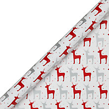 Buy John Lewis Reindeer Christmas Gift Wrap, 3m, Red Silver Online at johnlewis.com