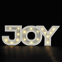 Buy John Lewis LED Joy Sign, White / Silver Online at johnlewis.com