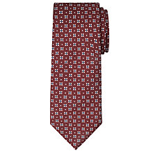 Buy John Lewis Made in Italy Wool Geo Floral Tie, Burgundy Online at johnlewis.com
