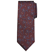 Buy JOHN LEWIS & Co. Abstract Floral Silk Jaspe Tie, Burgundy Online at johnlewis.com